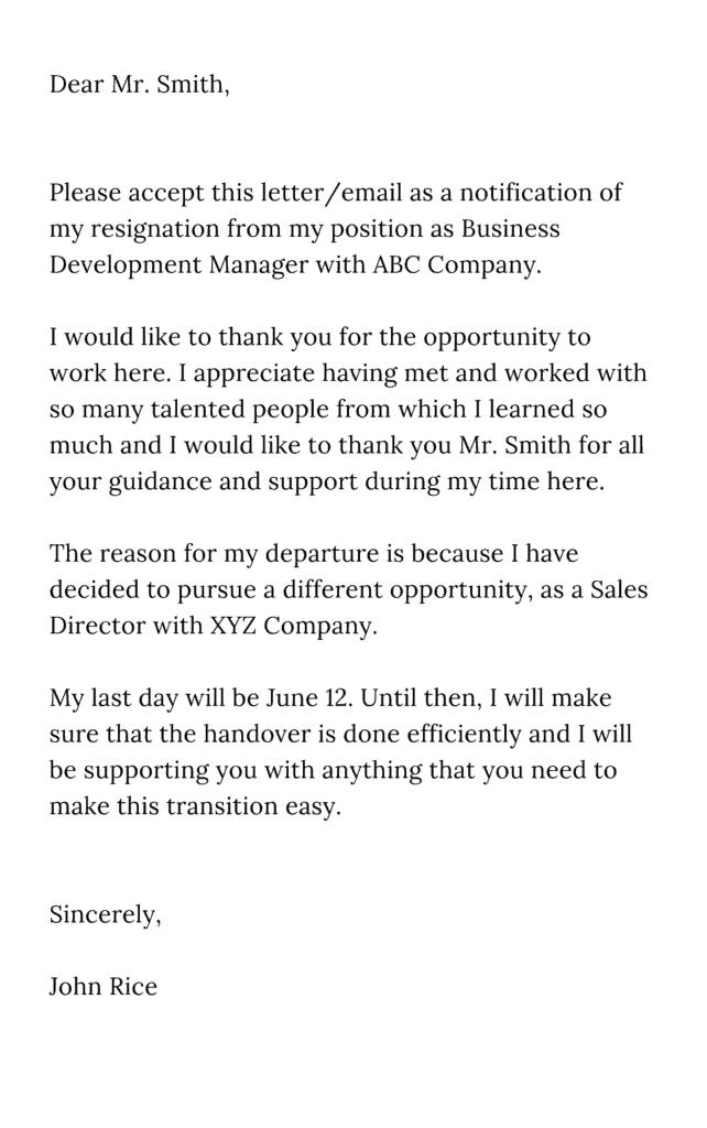 Resignation Letter Sample | Resignation Letter Example