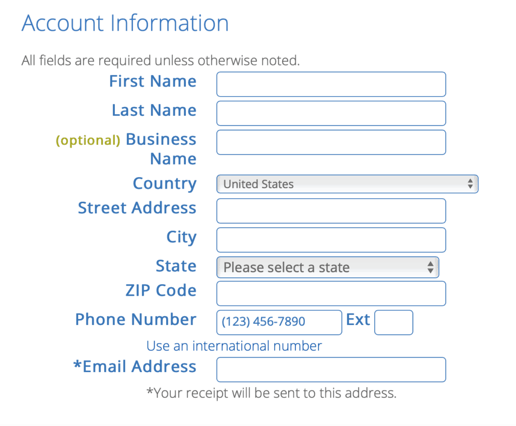 Fill in your account information on Bluehost