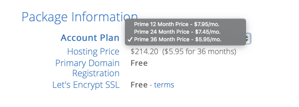 Select Bluehost plan for 36 months to get the best price per month and start a blog for cheap.