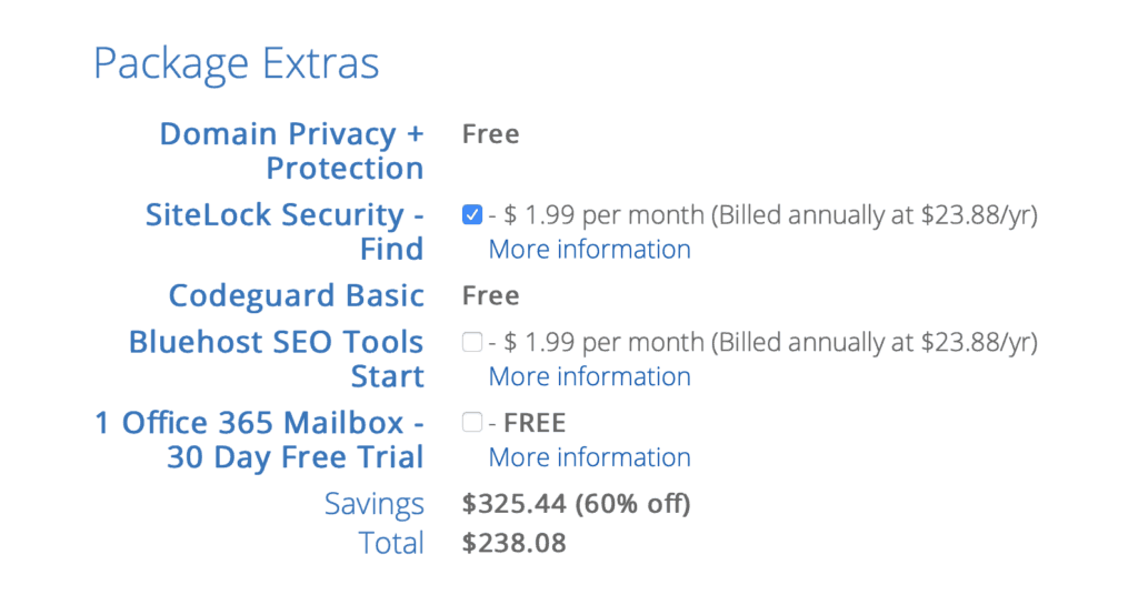 Do I need the package extras on Bluehost in order to start a blog?