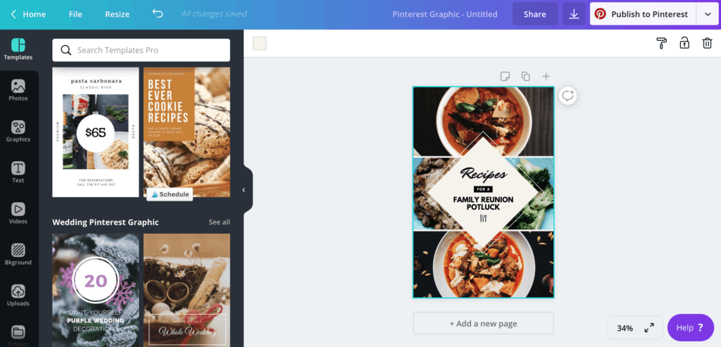 Pinterest templates in Canva