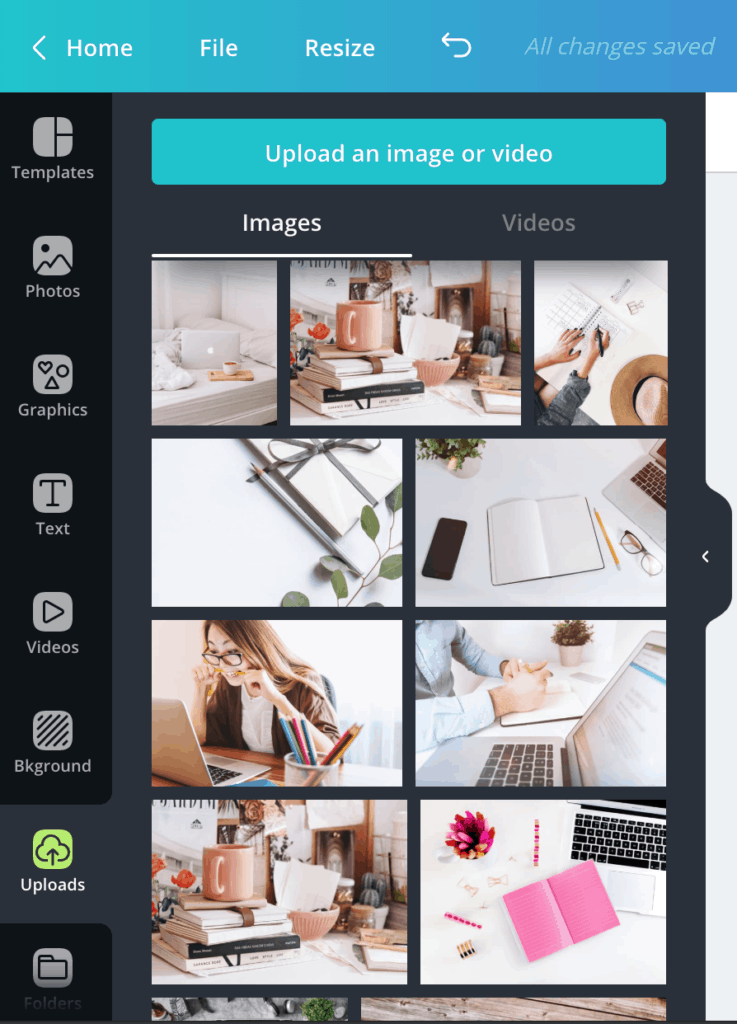 Upload your own pictures in Canva