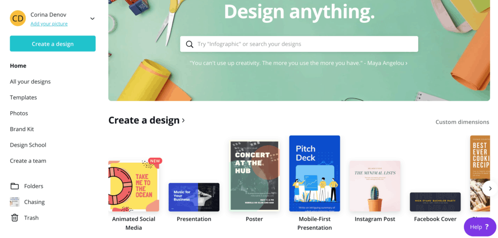 Design anything you want with Canva