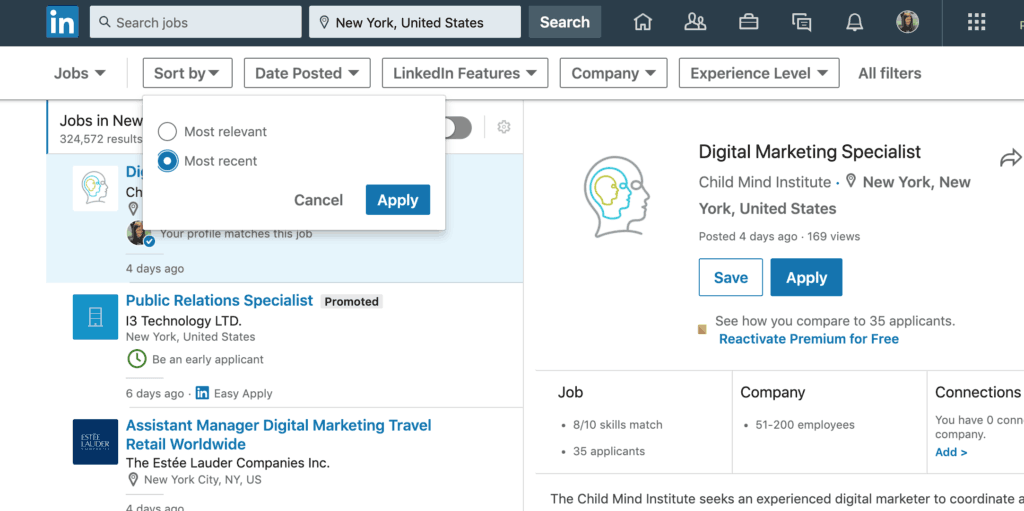How to use the LinkedIn filter when searching for a job