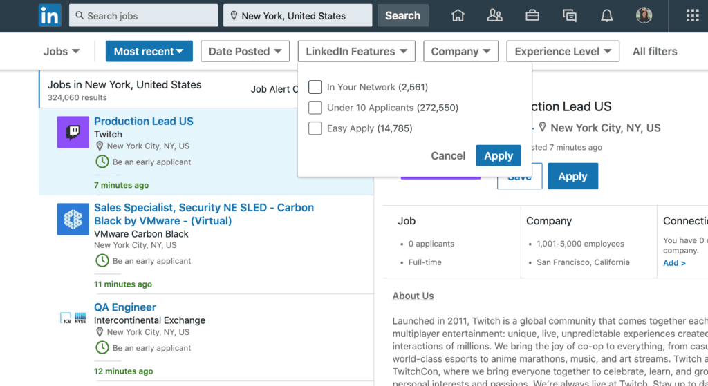 How to use LinkedIn features to find a job